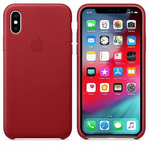 Кожен калъф Apple iPhone XS - (PRODUCT) RED